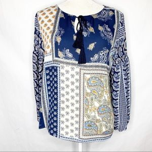 W5 Paisley Patchwork Pattern Peasant Top Blouse